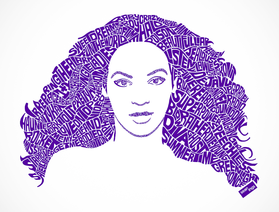 Beyonce typographic design seanings photography design Typography portrait
